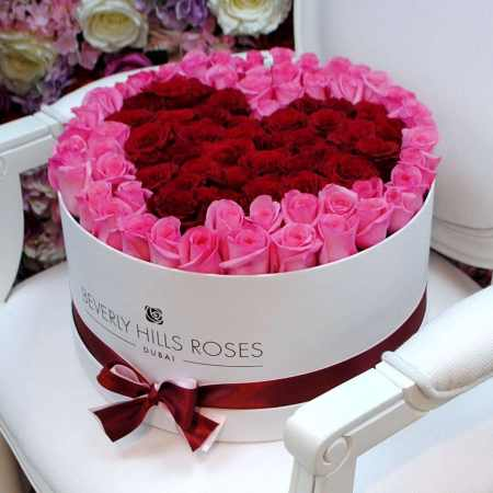 Large white rose box in affection