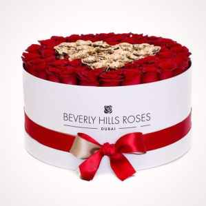 """100 red roses price """"Love is Gold"""" in Large White Box"""