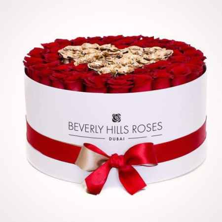 "100 red roses price ""Love is Gold"" in Large White Box"