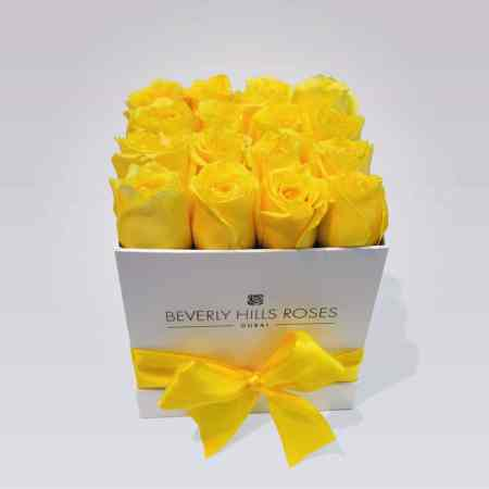 "Flower Delivery Roses ""Lemon"" in Small Square Box"