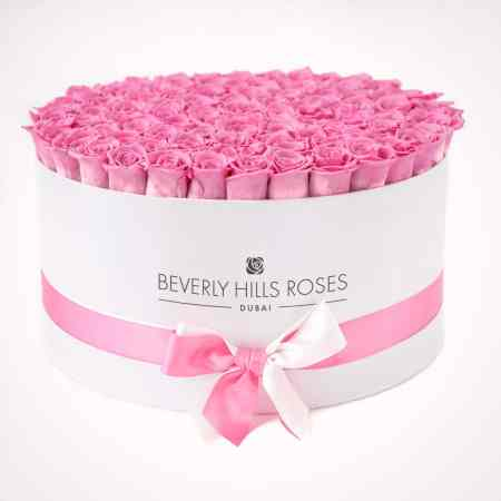 Large rose box with pink roses