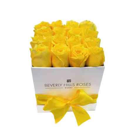 Square white rose box in lemon