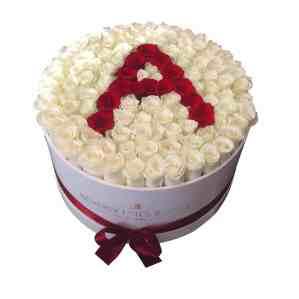 Rose box in letter arrangements