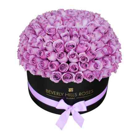 "Large black rose box in "" Angel Globe """