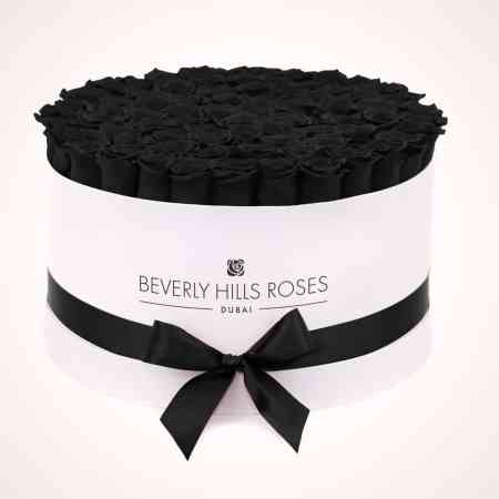 "Black Roses Delivery ""Fantasy"" in Large White Rose Box"