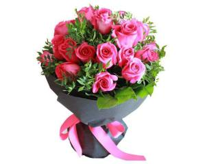 Pink and purple Roses hand bouquet