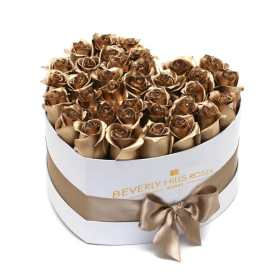 Gold roses in valentines love Heart Box