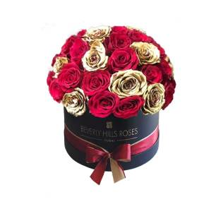 Red & Gold roses in Globe shape