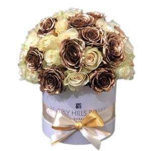 White & Gold roses in dome shape