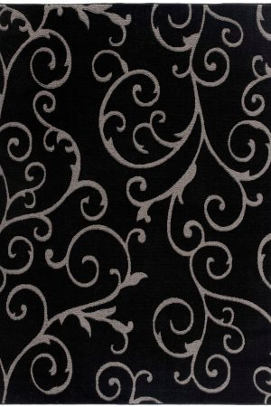 Beverly rug bella collection modern Floral Pattern area rug 00968a black