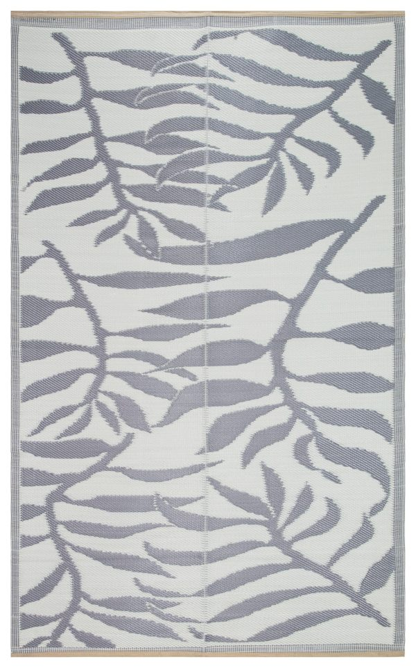 Beverly Rug Lightweight Indoor Outdoor Reversible Plastic Area Rug, Leaf Pattern Grey and White