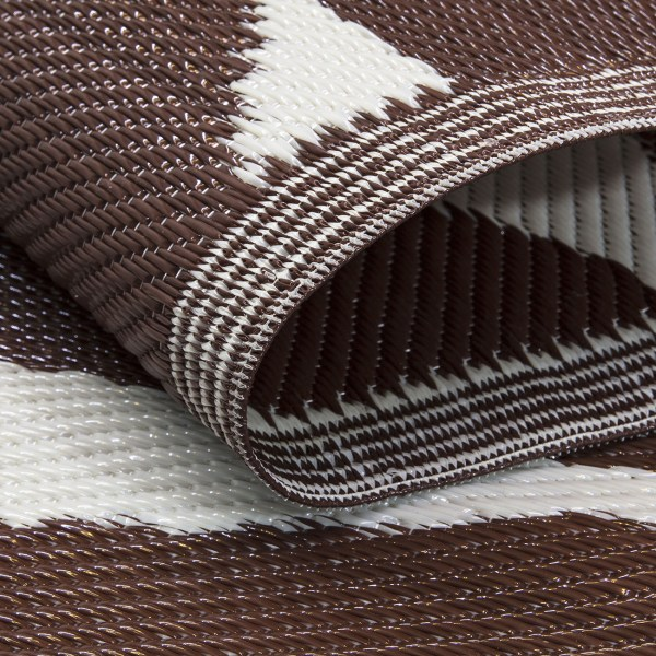 Beverly Rug Lightweight Indoor Outdoor Reversible Plastic Area Rug, Leaf Pattern brown and white