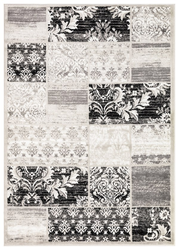 Beverly Rug Princess Collection Geometric Patchwork Area Rug 177 Grey and Light Grey