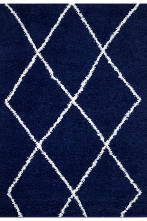 Beverly Rug Vienna Collection Modern Geometric Shaggy Area Rug G2927 dark blue white