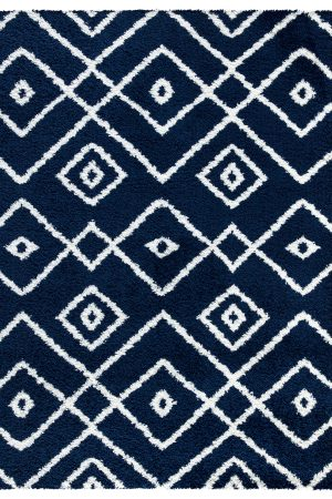 Beverly Rug Vienna Collection Modern Geometric Shaggy Area Rug G3716 Dark Blue and White