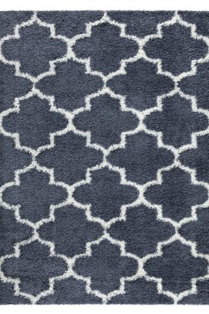 Beverly Rug Vienna Collection Trellis Shaggy Area Rug G3715 Dark Grey White