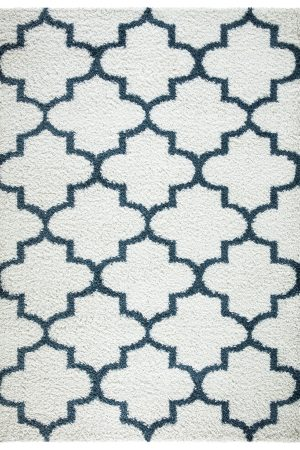 Beverly Rug Vienna Collection Trellis Shaggy Area Rug G3715 White Blue