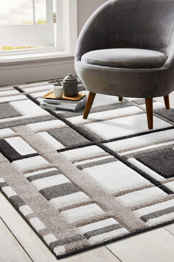 Beverly rug ibiza collection geometric blocks abstract area rug 2794 cream and beige