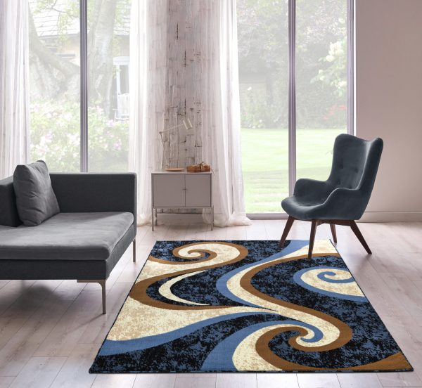 beverly rug Princess Collection Geometric Swirl Abstract Area Rug 808 cream blue