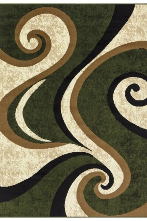 beverly rug Princess Collection Geometric Swirl Abstract Area Rug 808 cream green