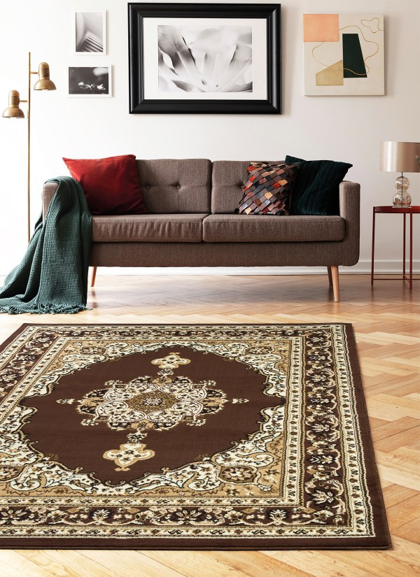 beverly rug princess collection oriental medallion area rug 811 brown