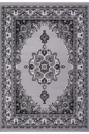 beverly rug princess collection oriental medallion area rug 811 light grey