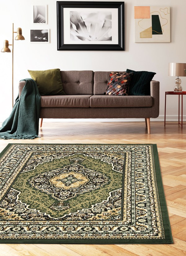 beverly rug princess collection oriental medallion area rug 812 black green