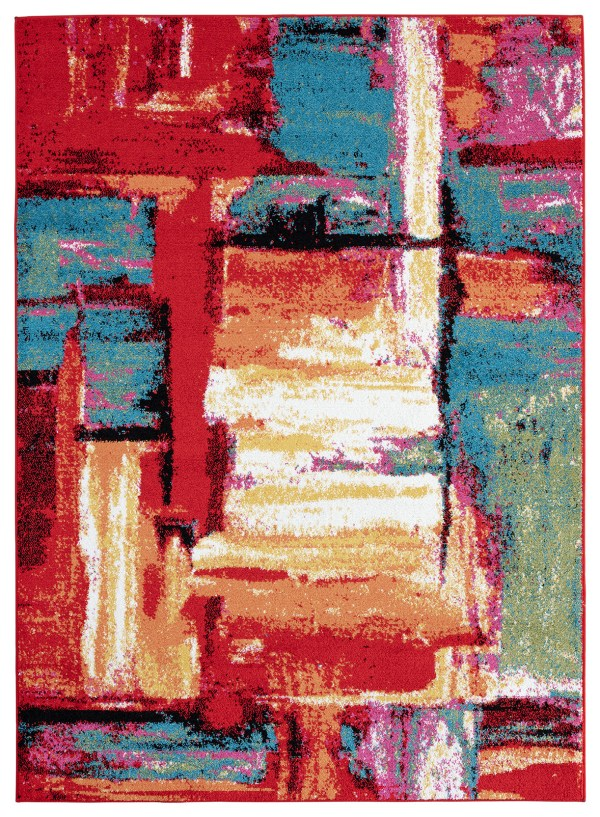 Beverly rug queen collection multi color modern and abstract area rug 1865