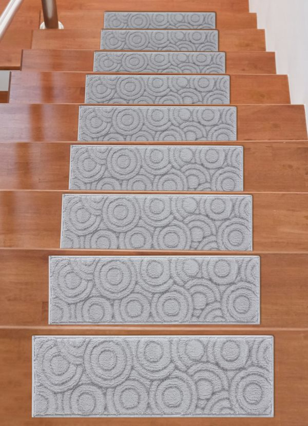 Soft Rug Stair Treads Circles Design - Grey