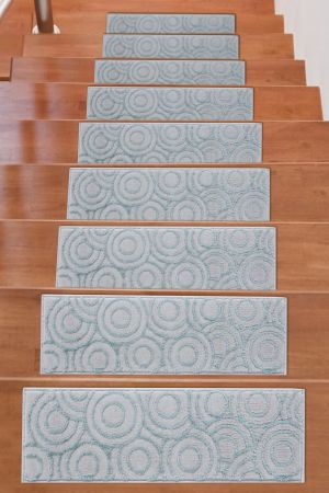 Beverly Rug Soft Rug Stair Treads Circles Design - Teal