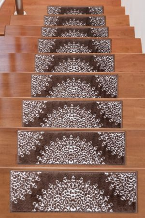 Beverly Rug Soft Rug Stair Treads Medallion Design - Brown