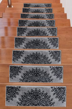 Soft Rug Stair Treads Medallion Design - Dark Grey
