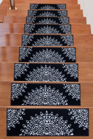 Soft Rug Stair Treads Medallion Design - Navy