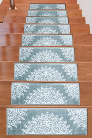Beverly Rug Soft Rug Stair Treads Medallion Design - Teal