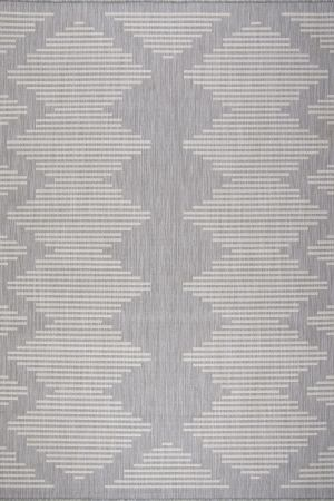 Waikiki Collection Indoor/Outdoor Area Rug - Grey & White
