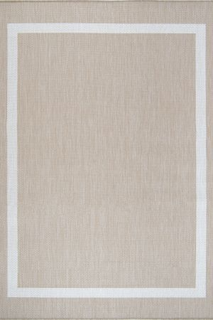 Waikiki Collection Indoor/Outdoor Bordered Area Rug - Beige & White