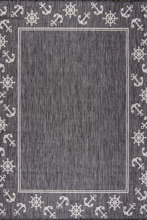 Waikiki Collection Indoor/Outdoor Helm and Anchor Area Rug - Dark Grey & Light Grey