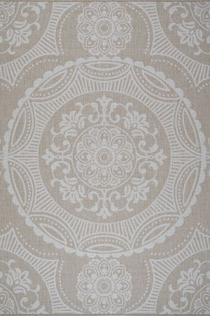 Waikiki Collection Indoor/Outdoor Medallion Area Rug - Beige & White
