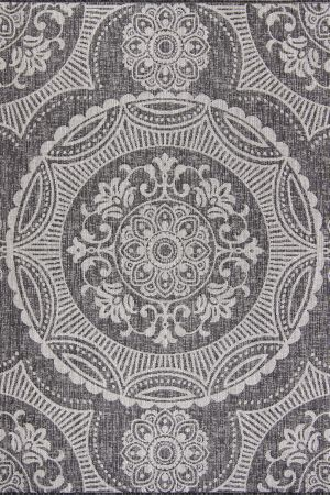 Waikiki Collection Indoor/Outdoor Medallion Area Rug - Pebble Grey & White