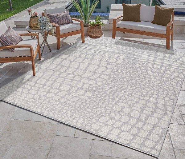 Waikiki Collection Indoor/Outdoor Pebbles Area Rug - Grey & White