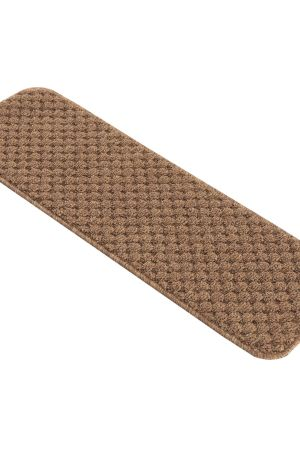 "Beverly Rug Solid Color Indoor Carpet Stair Treads 8.5""x26"" in Beige"
