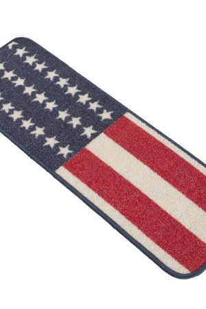 "Beverly Rug American Flag Design Indoor Carpet Stair Treads 8'5""x26"""