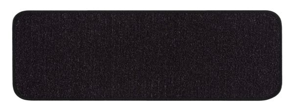 "Beverly Rug Solid Color Indoor Carpet Stair Treads 8'5""x26"" Black"