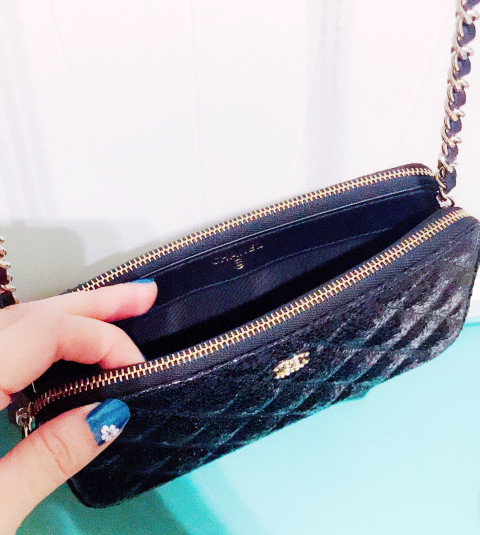 Chanel mini clutch on chain with pearls