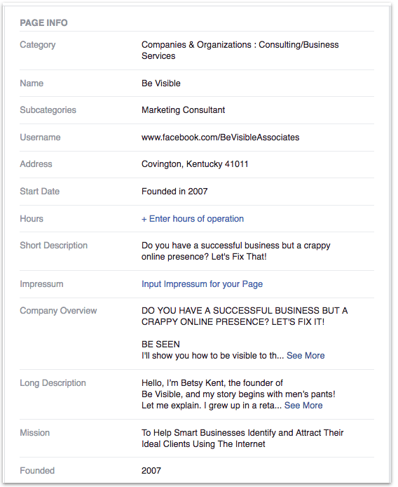 can't verify your facebook business page, betsy kent, be visible