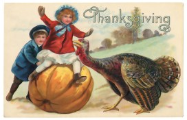 blog by Bev Scott, vintage postcard for thanskgiving
