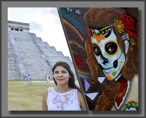 Latino woman with catrina