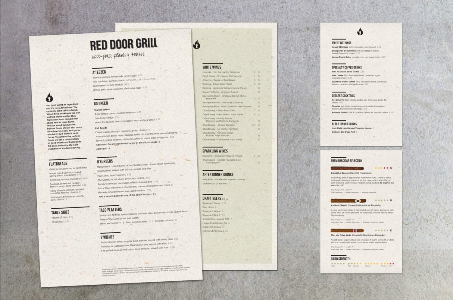 Red Door Grill Menus