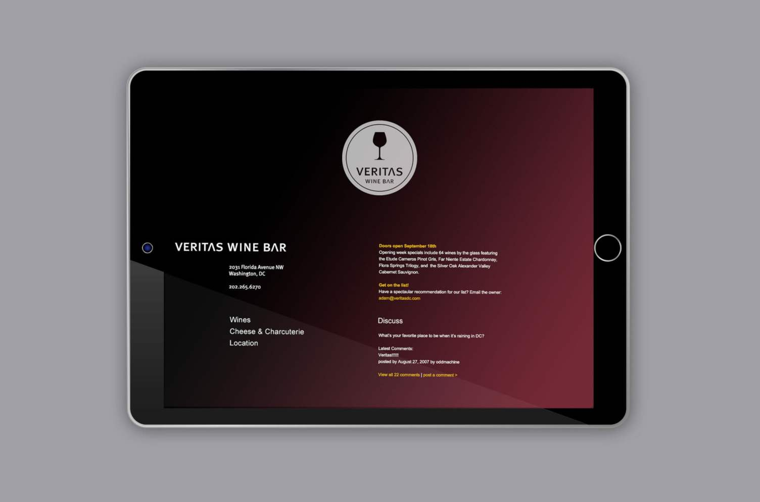 Veritas Wine Bar Website