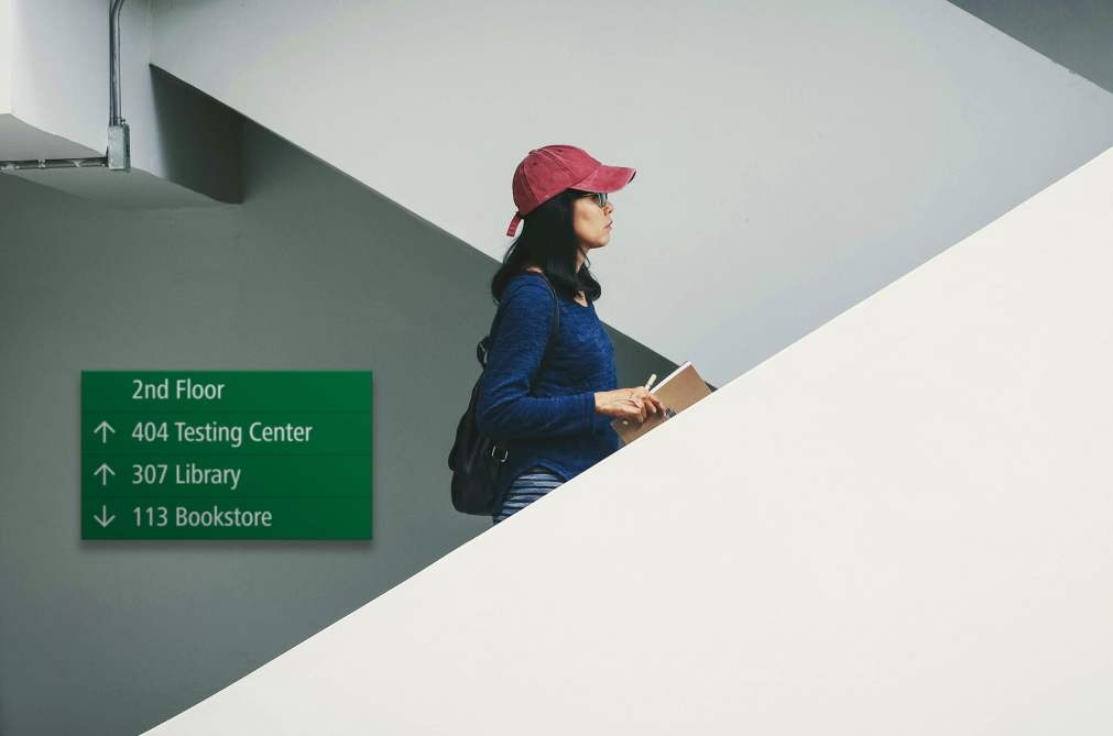NOVA Community College Signage on Stairs